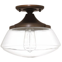 Signature 1 Light 10 inch Burnished Bronze Ceiling Flush Ceiling Light in Clear