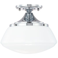 Schoolhouse 1 Light 11 inch Chrome Semi-Flush Mount Ceiling Light in Milk