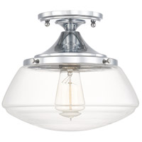 Capital Lighting 3537CH-134 Schoolhouse 1 Light 11 inch Chrome Semi-Flush Mount Ceiling Light in Clear