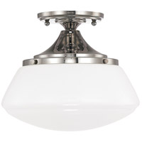 Capital Lighting Signature 1 Light Ceiling Flush in Polished Nickel with White Glass 3537PN-129