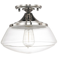 Signature 1 Light 10 inch Polished Nickel Ceiling Flush Ceiling Light in Clear
