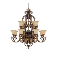 Capital Lighting Grandview 12 Light Chandelier in Dark Spice with Rust Scavo Glass 3542DS-241 photo thumbnail