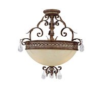 Capital Lighting Grandview 3 Light Semi-Flush in Dark Spice with Crystals 3543DS-CR photo thumbnail
