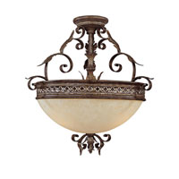 Capital Lighting Grandview 3 Light Semi-Flush Mount in Dark Spice with Rust Scavo Glass 3543DS