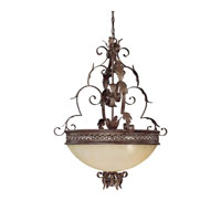 Capital Lighting Grandview 5 Light Pendant in Dark Spice with Rust Scavo Glass 3544DS