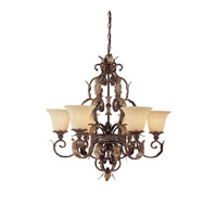 Capital Lighting Grandview 6 Light Chandelier in Dark Spice with Rust Scavo Glass 3546DS-241 photo thumbnail