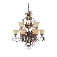 Capital Lighting Grandview 9 Light Chandelier in Dark Spice with Crystals 3549DS-241-CR photo thumbnail