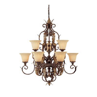 Capital Lighting Grandview 9 Light Chandelier in Dark Spice with Rust Scavo Glass 3549DS-241 photo thumbnail