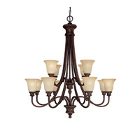 Capital Lighting Hill House 12 Light Chandelier in Burnished Bronze with Mist Scavo Glass 3562BB-252
