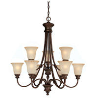 Capital Lighting Hill House 9 Light Chandelier in Burnished Bronze with Mist Scavo Glass 3569BB-252