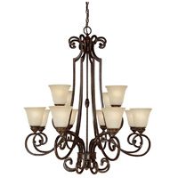 Capital Lighting Barclay 12 Light Chandelier in Chesterfield Brown with Mist Scavo Glass 3582CB-287