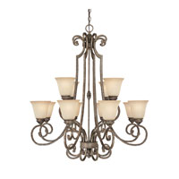 Capital Lighting Barclay 12 Light Chandelier in Creek Stone with Mist Scavo Glass 3582CS-287