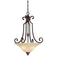Capital Lighting Barclay 3 Light Chandelier in Chesterfield Brown with Mist Scavo Glass 3584CB