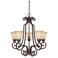 Capital Lighting Barclay 5 Light Chandelier in Chesterfield Brown with Mist Scavo Glass 3585CB-287