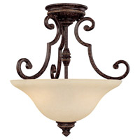 Capital Lighting Barclay 2 Light Semi-Flush Mount in Chesterfield Brown with Mist Scavo Glass 3588CB