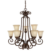 Capital Lighting Barclay 9 Light Chandelier in Chesterfield Brown with Mist Scavo Glass 3589CB-287
