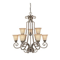 Capital Lighting Barclay 9 Light Chandelier in Creek Stone with Mist Scavo Glass 3589CS-287