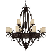 Capital Lighting River Crest 12 Light Chandelier in Rustic Iron with Rust Scavo Glass 3602RI-125