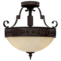 Capital Lighting River Crest 3 Light Semi-Flush Mount in Rustic Iron with Rust Scavo Glass 3603RI