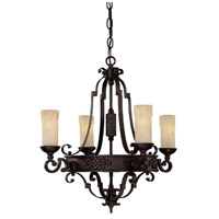 Capital Lighting River Crest 4 Light Chandelier in Rustic Iron with Rust Scavo Glass 3604RI-279
