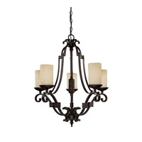 Capital Lighting River Crest 5 Light Chandelier in Rustic Iron with Rust Scavo Glass 3605RI-125