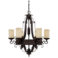 Capital Lighting River Crest 6 Light Chandelier in Rustic Iron with Rust Scavo Glass 3606RI-125