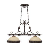 Capital Lighting River Crest 2 Light Island Light in Rustic Iron with Rust Scavo Glass 3607RI