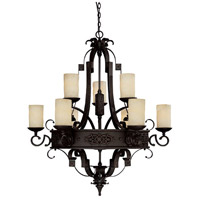 Capital Lighting River Crest 9 Light Chandelier in Rustic Iron with Rust Scavo Glass 3609RI-125