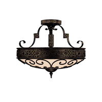 Capital Lighting River Crest 4 Light Semi-Flush Mount in Rustic Iron with Rust Scavo Glass 3615RI