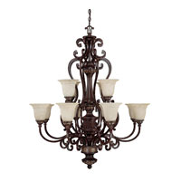 Capital Lighting Chesterfield 12 Light Chandelier in Chesterfield Brown with Rust Scavo Glass 3632CB-283