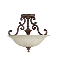 Capital Lighting Chesterfield 3 Light Semi-Flush Mount in Chesterfield Brown with Rust Scavo Glass 3633CB photo thumbnail