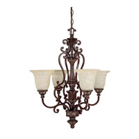 Capital Lighting Chesterfield 4 Light Chandelier in Chesterfield Brown with Rust Scavo Glass 3634CB-283 photo thumbnail