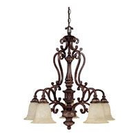 Capital Lighting Chesterfield 5 Light Chandelier in Chesterfield Brown with Rust Scavo Glass 3635CB-283