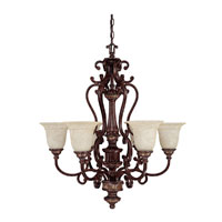 Capital Lighting Chesterfield 6 Light Chandelier in Chesterfield Brown with Rust Scavo Glass 3636CB-283
