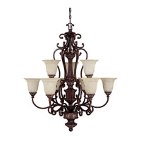 Capital Lighting Chesterfield 9 Light Chandelier in Chesterfield Brown with Rust Scavo Glass 3639CB-283