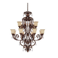 Capital Lighting Seville 12 Light Chandelier in Gilded Umber with Crystals 3642GU-294-CR photo thumbnail