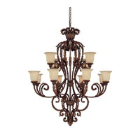Capital Lighting Seville 12 Light Chandelier in Gilded Umber with Rust Scavo Glass 3642GU-294