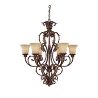 Capital Lighting Seville 6 Light Chandelier in Gilded Umber with Rust Scavo Glass 3646GU-254