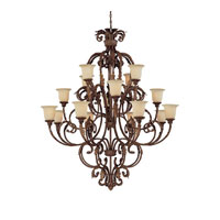 Capital Lighting Seville 16 Light Chandelier in Gilded Umber with Rust Scavo Glass 3648GU-294 photo thumbnail