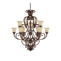Capital Lighting Seville 9 Light Chandelier in Gilded Umber with Rust Scavo Glass 3649GU-254 photo thumbnail