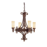 Capital Lighting Squire 4 Light Chandelier in Crusted Umber with Rust Scavo Glass 3654CU-288