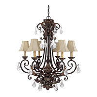 Capital Lighting Sheffield 6 Light Chandelier in Chesterfield Brown with Crystals 3686CB-413-CR photo thumbnail