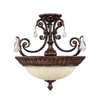 Capital Lighting Sheffield 3 Light Semi-Flush in Chesterfield Brown with Crystals 3687CB-CR photo thumbnail