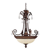Capital Lighting Sheffield 4 Light Pendant in Chesterfield Brown with Crystals 3688CB-CR photo thumbnail