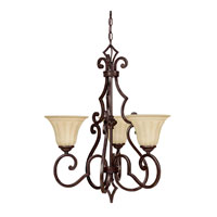 Capital Lighting Sierra 3 Light Chandelier in Mediterranean Bronze with Sienna Scavo Glass 3723MBZ-268 photo thumbnail