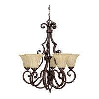 Capital Lighting Sierra 5 Light Chandelier in Mediterranean Bronze with Sienna Scavo Glass 3725MBZ-268 photo thumbnail