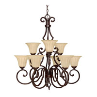 Capital Lighting Sierra 9 Light Chandelier in Mediterranean Bronze with Sienna Scavo Glass 3729MBZ-268 photo thumbnail