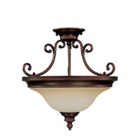 Capital Lighting Avery 3 Light Semi-Flush Mount in Burnished Bronze with Mist Scavo Glass 3783BB