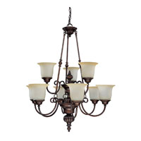 Capital Lighting Avery 9 Light Chandelier in Burnished Bronze with Mist Scavo Glass 3789BB-291