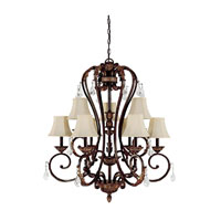 Capital Lighting Amberleigh 9 Light Chandelier in Chesterfield Brown with Crystals 3809CB-434-CR photo thumbnail